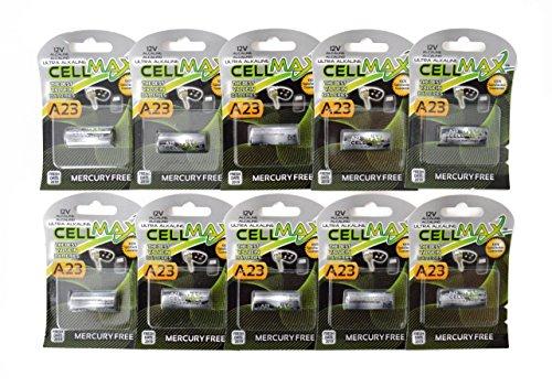 Cell Max CM-A23-BP1 - 10 A23 Alkaline 12V Button Batteries (10  1-Packs)