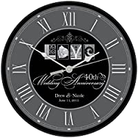 40th Wedding Anniversary Large Personalized Modern Wall Clock Housewarming Custom Gifts for Parents by Dayspring International