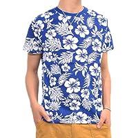 (フルライフ)FULLLIFE 裏刷りボタニカル柄ボーダー×アロハ柄プリント半袖Tシャツ