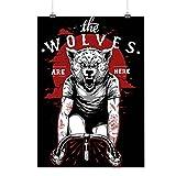 Loups Sont Ici Bicyclette Sauvage Matte/Glacé Affiche A4 (30cm x 21cm)   Wellcoda...