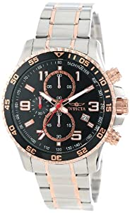 Invicta Men's 14877 Specialty Chronograph Black Textured Dial Two Tone Stainless Steel Watch
