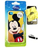 BUKIT CELL Disney ® Mickey Mouse HARD BACK PIECE Faceplate Protector Case Cover (Happy Mickey) for Apple iPhone 4S / 4G / 4 (Fits any carrier AT&T, VERIZON AND SPRINT) + Free WirelessGeeks247 Metallic Detachable Touch Screen STYLUS PEN with Anti Dust Plug