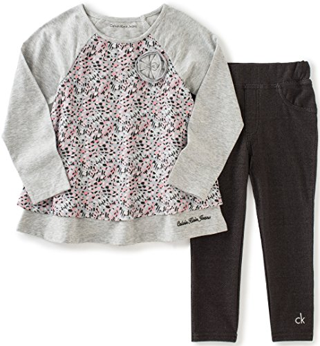 Calvin Klein Baby Printed Tunic with Jeggings Set, Gray, 18 Months