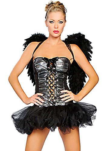 Q.Passion Hot Dark Angel Costume with Built in Petticoat and Wings A06