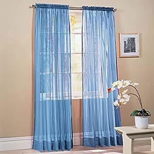 "2 Piece Solid Sky Blue Sheer Window Curtains/drape/panels/treatment 58""w X 84""l"