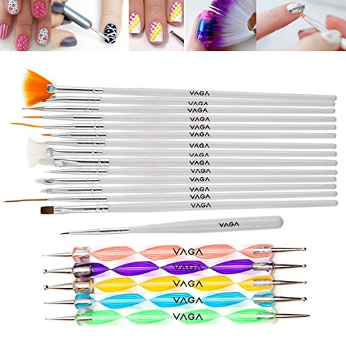 Professional-Great-Quality-Nail-Art-Set-Kit-With-15-Brushes-Stripers-Liners-In-White-And-5-Double-Ended-Dotting-Marbling-Tools-Dotters-By-VAGA