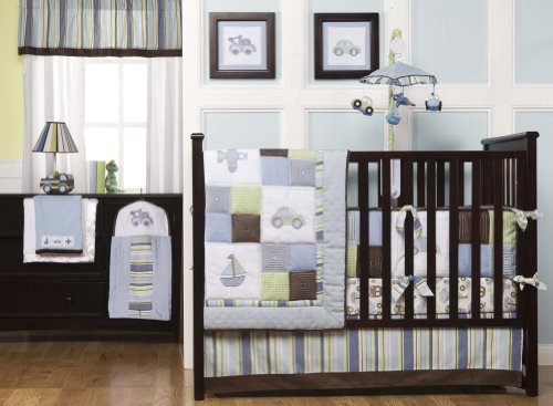 Kids Line 6 Piece Crib Bedding Set, Mosaic Transport