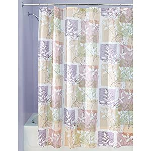 InterDesign Botanical Shower Curtain, 72 x 72-Inch, Vivo, Purple/Tan