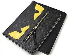 KolorFishTM Monster Zipper Devil Designer Leather Flip Stand Case Cover for Apple iPad Air 2 (Black)