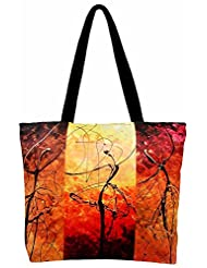 Roopak-Dancing Girls Digital Print Tote Bag, Multicolor