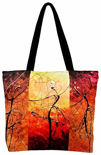 Roopak-Dancing Girls Digital Print Tote Bag, Multicolor