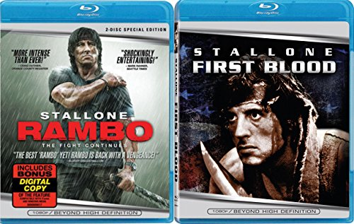Rambo: First Blood & Rambo Sylvester Stallone Blu Ray 2 Pack Military 2 Movie Action Set