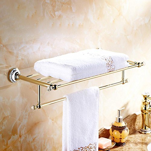 CU High fashion and durability and a blue-and-white porcelain pedestal towel racks copper and gold-plated single tier Towel rack (Revolving Pedestal compare prices)