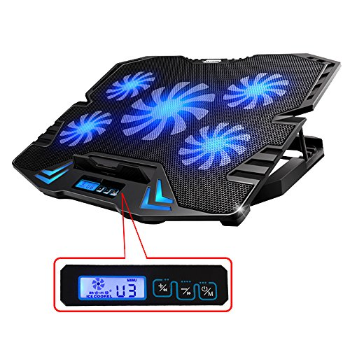 TopMate 12-15.6 inch Gaming Laptop Cooler, Five Quite Fans and LCD Screen,2500RPM Strong Wind Speed Designed for Gamers and Office (Gaming Cooling Pad 15 compare prices)
