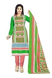 RK Fashion Womens Cotton Un-Stitched Salwar Suit Dupatta Material ( VARIETY-GANPATI-SUPRIYA-202-Green-Free Size)