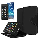 Cellto Amazon Fire Premium Wallet Case with HD Screen Protector [Dual Magnetic Flap] Diary Cover /w ID Pocket Top Quality &Life Time Warranty - Premium Black
