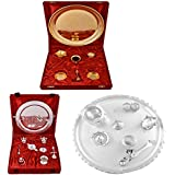 Gold Plated GL Pooja Thali Set,Silver Plated Royal Pooja Thali Set With Ganesh Laksmi And Silver Plated GL 11...