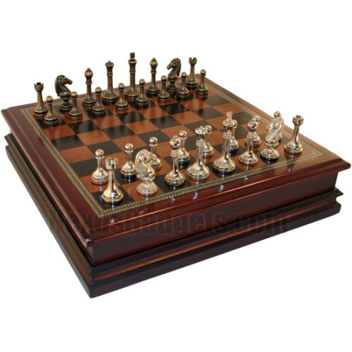 12 deluxe wooden chess set with storage compartment and silver gold pieces - Deluxe chess sets ...