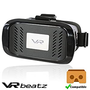 "VR Headset Virtual Reality Goggles by VR beatz - Deep Immersive Experience on 3D Movies & Games, Compatible with Google Cardboard, Light Weight & Comfortable, fits 4-6"" iPhone Samsung Galaxy"