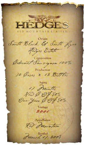 2001 Hedges Family Estate Single Vineyard Limited Cabernet Sauvignon 750 Ml