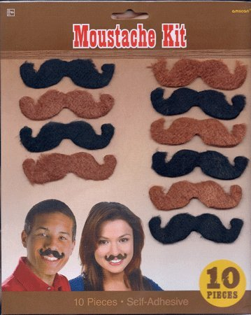 Assorted Self-Adhesive Moustaches - 10 pcs