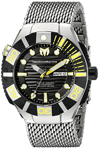 Technomarine-Mens-TM-513006-Black-Reef-Analog-Display-Swiss-Automatic-Silver-Watch