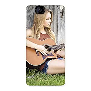 Guitar Girl Multicolor Back Case Cover for Canvas Knight A350