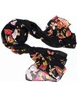 chinkyboo Black Butterfly Print Scarf - Ladies Soft Fashion Style Dress