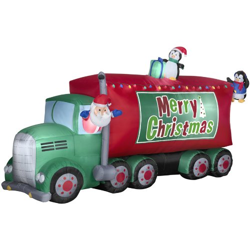 Giant Santa 18-Wheeler Merry Christmas Inflatable Airblown Holiday Decoration