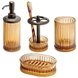 InterDesign Alston 4-Piece Bath Accessories Set, Amber/Bronze