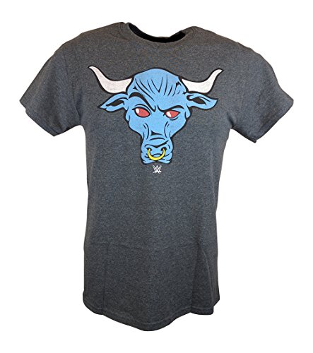 The Rock Blue Brahma Bull WWE Mens Grey T-shirt-L
