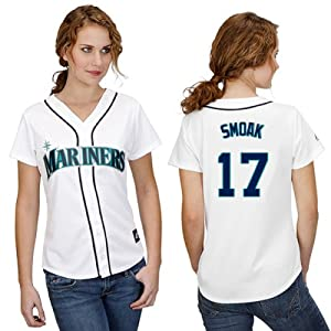 Justin Smoak Seattle Mariners Home Ladies Replica Jersey by Majestic by Majestic