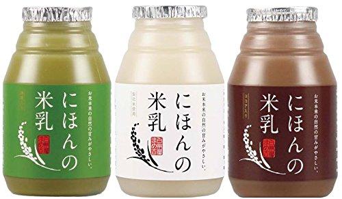 ライスミルク にほんの米乳 3種お試しセット プレーン150g×4本、抹茶150g×4本、ココア150g×4本 >>