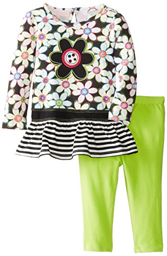 Kids Headquarters Baby-Girls Infant 2 Pieces Flower Print Tunic And Legging, Green, 18 Months front-990767
