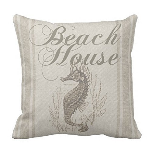 JeremyArtStore 18 x 18 Inches Decorative Cotton Linen Square Throw Pillow Case Cushion Cover Beach House Seahorse Sandy Coastal Design (Beach House Pillows compare prices)