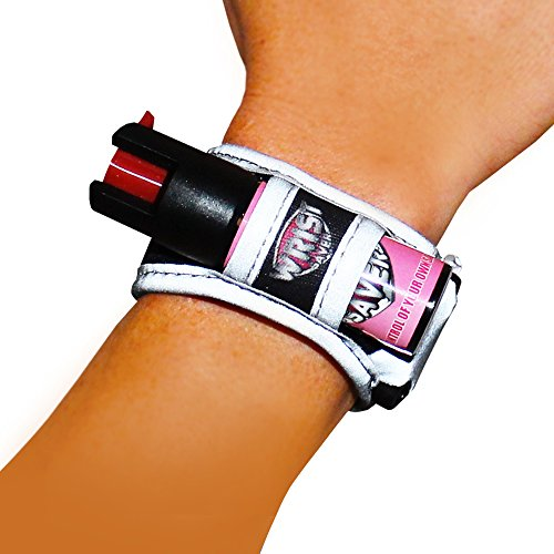 Wrist Saver Black-Pink Pepper Spray Running - Jogger - Walking - Hiking Wristband with LED Light & Id Card (Black and Pink, Large) (Pepper Spray Running compare prices)