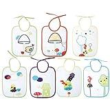 Babycalin - BBC201211 - Lot de 7 Bavoirs - Champignons Fermeture Lacets