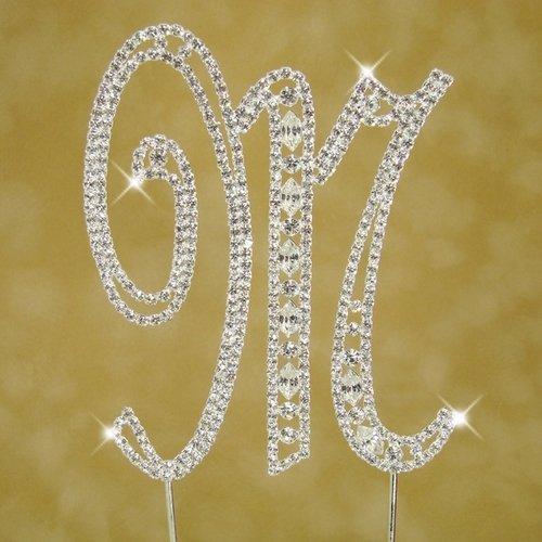 Swarovski Crystal Monogram Cake Topper Vintage Style - Letter M