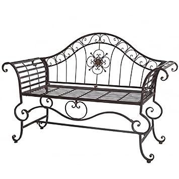 Banc Style Dagobert Banquette Fauteuil Mobilier de Jardin Assise Exterieur 3 Places en Fer Marron 57x93x144cm