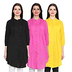 NumBrave Black, Pink & Yellow Long Cotton Top (Pack of 3)