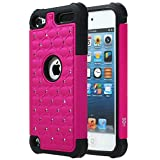 iPod Touch 6 Case, SGM (TM) Hybrid Gel Rhinestone Bling Armor Defender Case for Apple iPod Touch 5th / 6th Generation