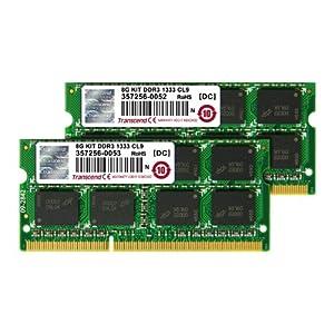 Transcend JetRam ノートPC用増設メモリ PC3-10600(DDR3-1333) 8GB KIT(4GB×2) 永久保証 JM1333KSN-8GK