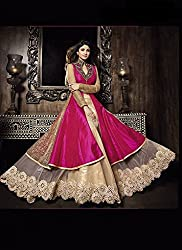 Pink & Golden Colour Lehenga Gown Style Dress Material / Wedding Wear Dress Material / Engagement Wear Dress Material / Dress Material For Special...