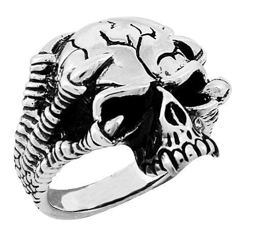 Stainless Steel Jawless Skull Ring with Eagle Feet (Available in Sizes 10 to 14) size11