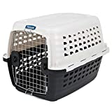 Petmate 41031 Compass Plastic Pets Kennel with Chrome Door, Metallic White/Black