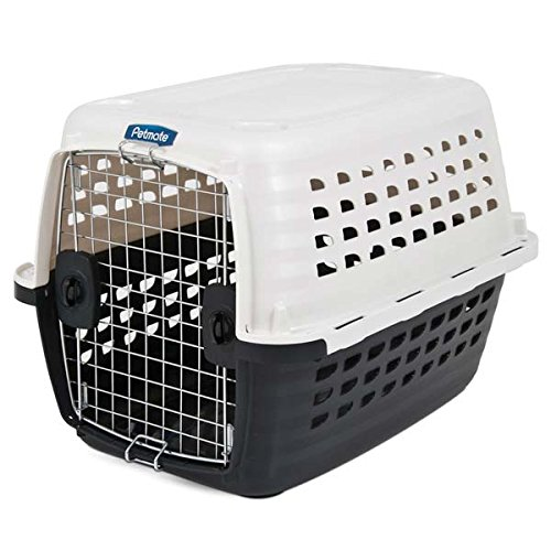 Petmate 41032 Compass Plastic Pets Kennel with Chrome Door, Metallic White/Black