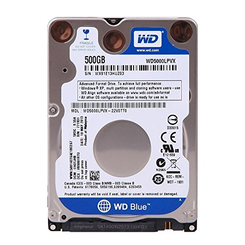 Western Digital WD5000LPVX Festplatte (6.35cm (2.5 Zoll), 5400rpm, 8MB Cache, SATA) silber/blau