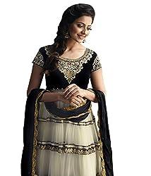 Pinkshink Womens Net Anarkali Dress Material (Floral97 _Black _Free Size)