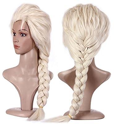 Anogol Free Hair Cap + Blonde Cosplay Wig Party Braid Hair Wigs