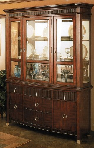 Cheap China Cabinet Buffet Hutch with Reeded Details in Brown Cherry Finish (VF_AP-629-71-72)